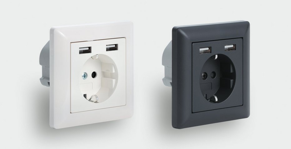100 % rail-compatible 230 V socket with two integrated USB charger ports - Lütze Transportation GmbH